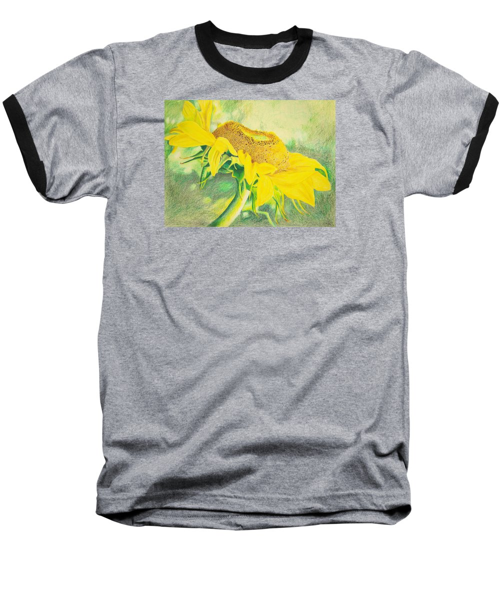 Sunflower Art Print Baseball T-Shirt featuring the mixed media Sunflower Print Art For Sale Colored Pencil Floral by Diane Jorstad