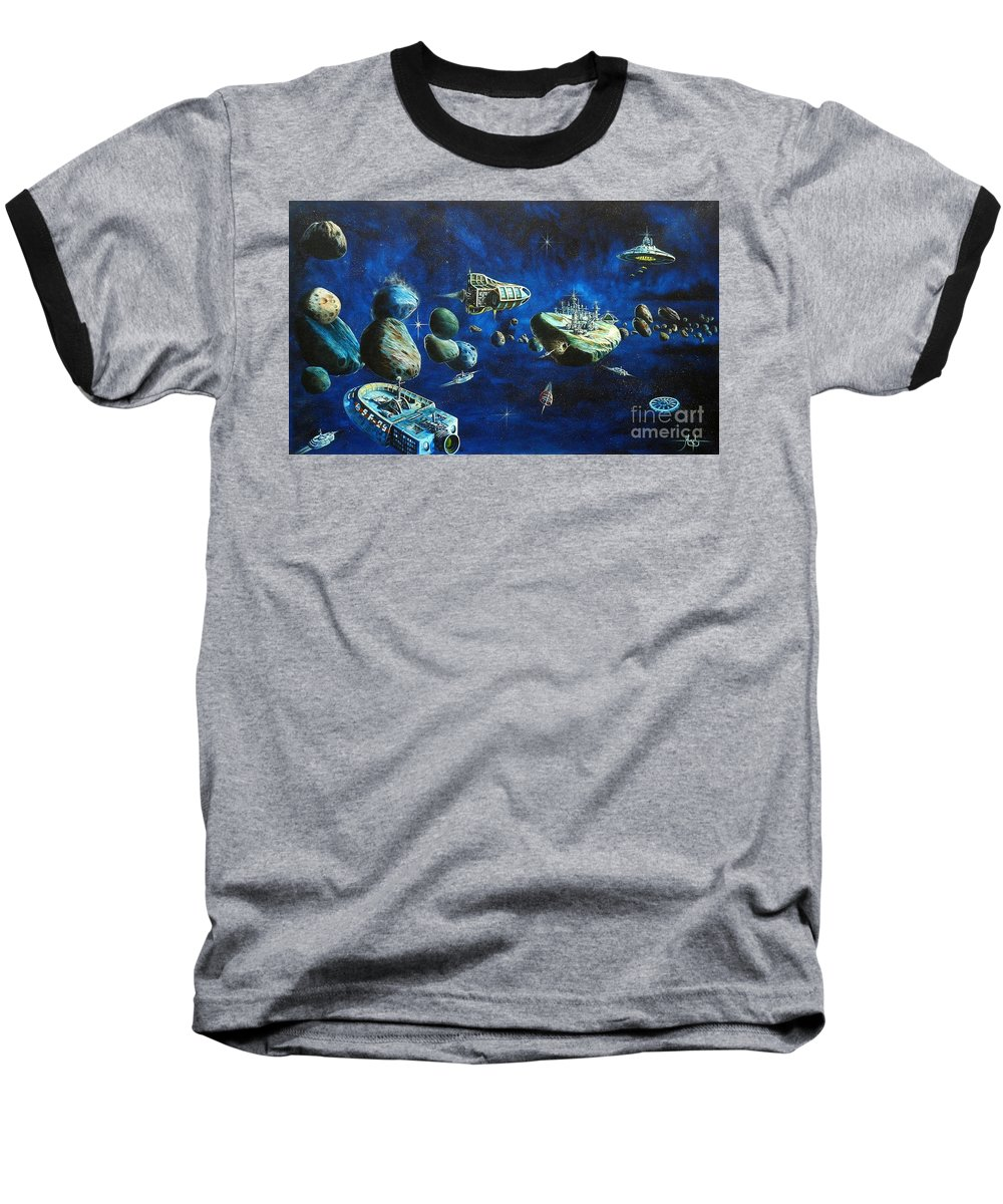 Fantasy Baseball T-Shirt featuring the painting Asteroid City by Murphy Elliott