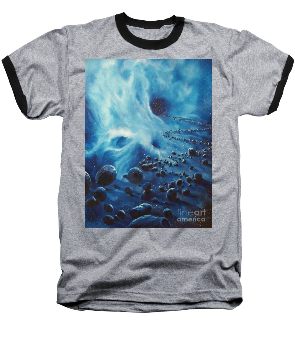Si-fi Baseball T-Shirt featuring the painting Asteroid River by Murphy Elliott