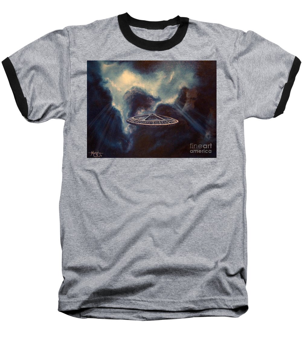 Si-fi Baseball T-Shirt featuring the painting Atmospheric Arrival by Murphy Elliott