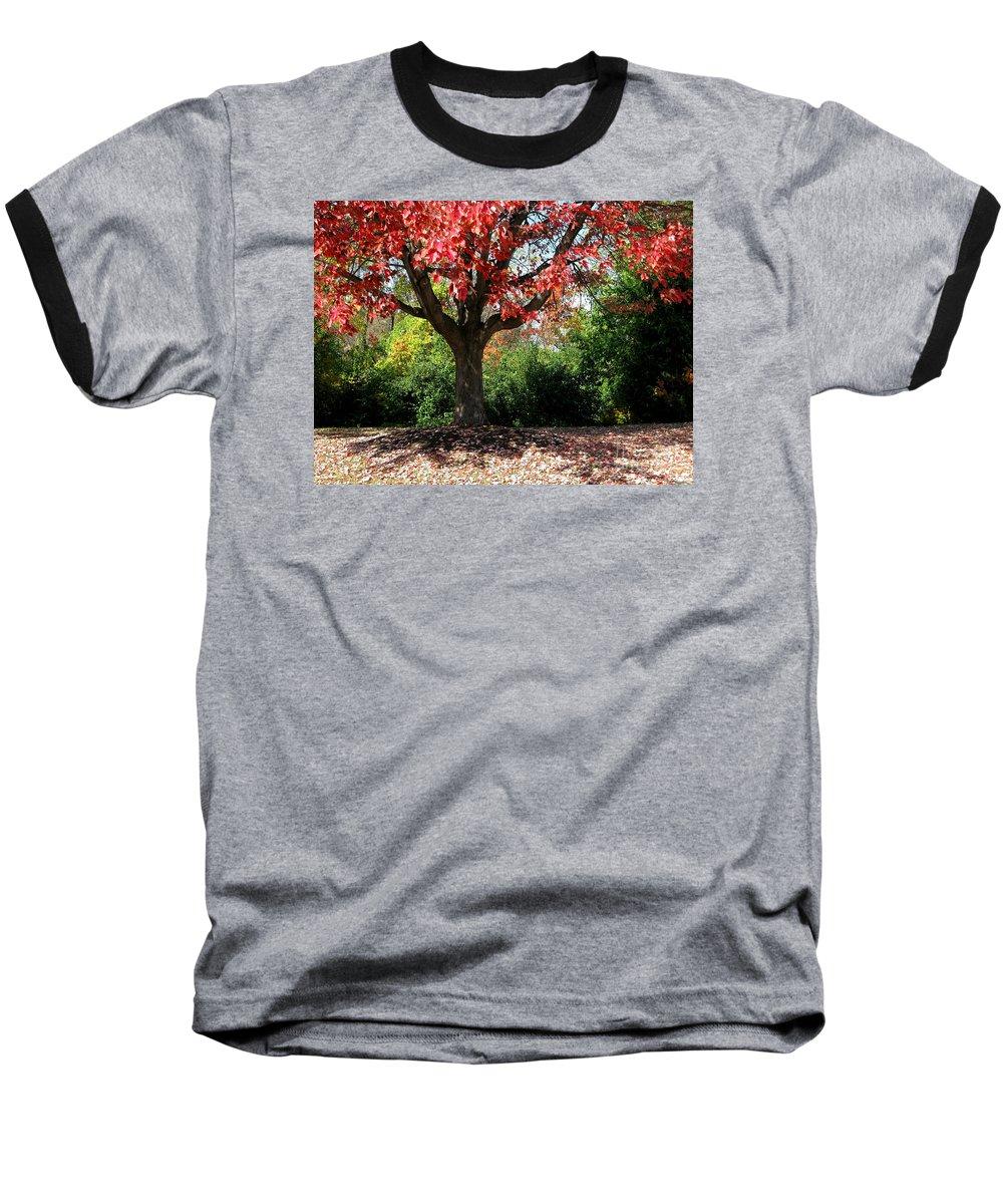 Autumn Baseball T-Shirt featuring the photograph Autumn Ablaze by Ann Horn