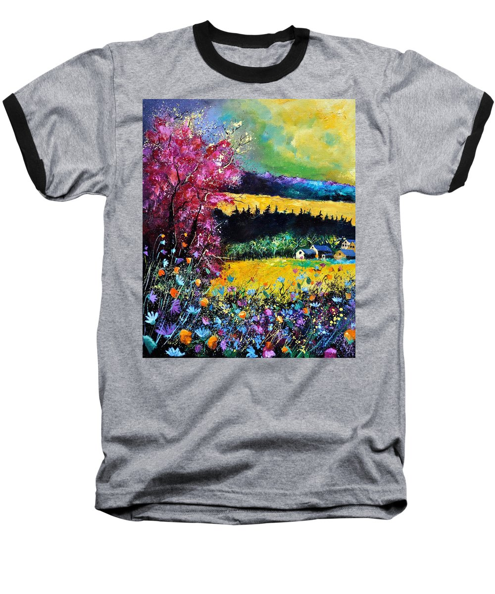 Landscape Baseball T-Shirt featuring the painting Autumn Flowers by Pol Ledent
