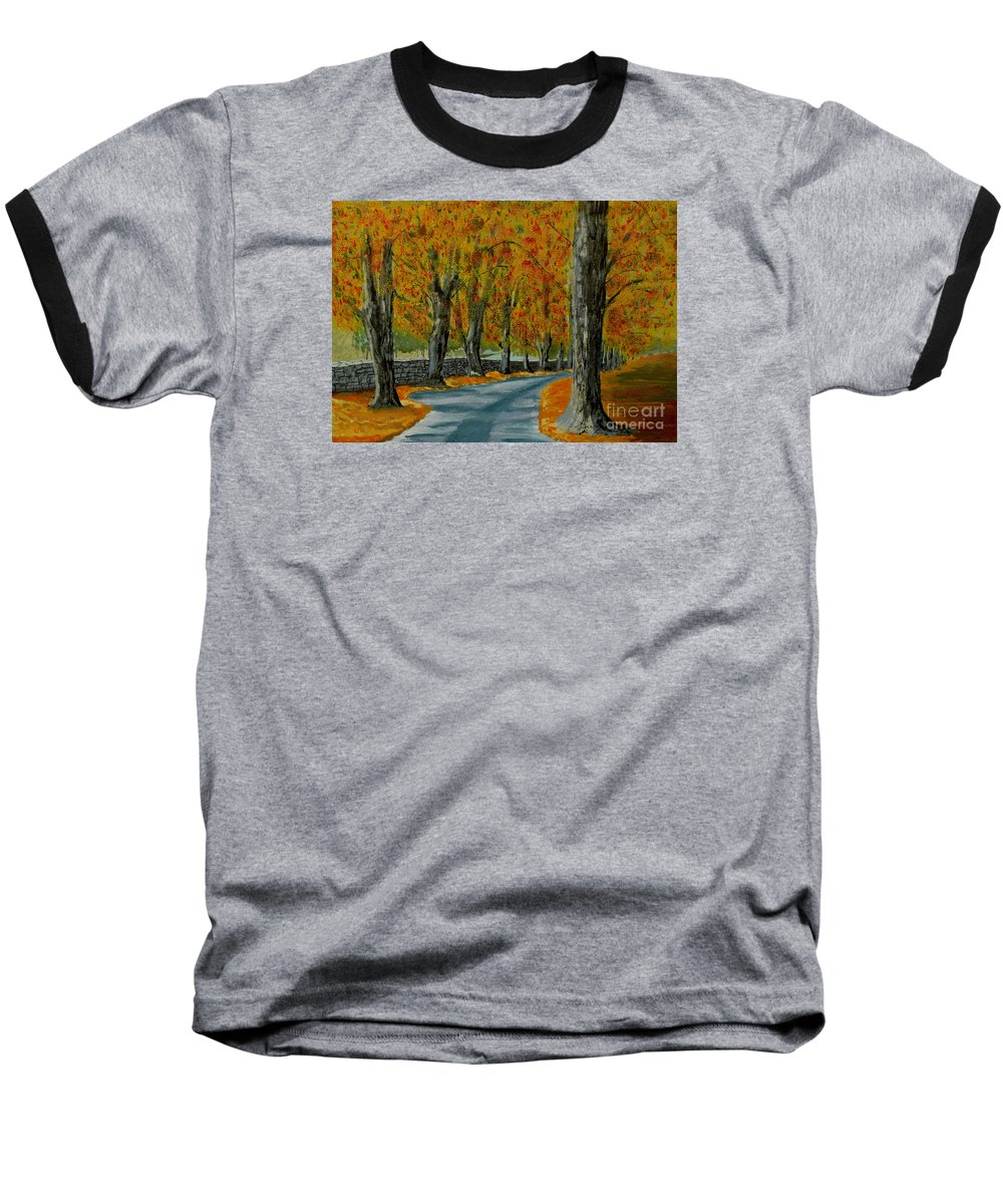 Autumn Baseball T-Shirt featuring the painting Autumn Pathway by Anthony Dunphy