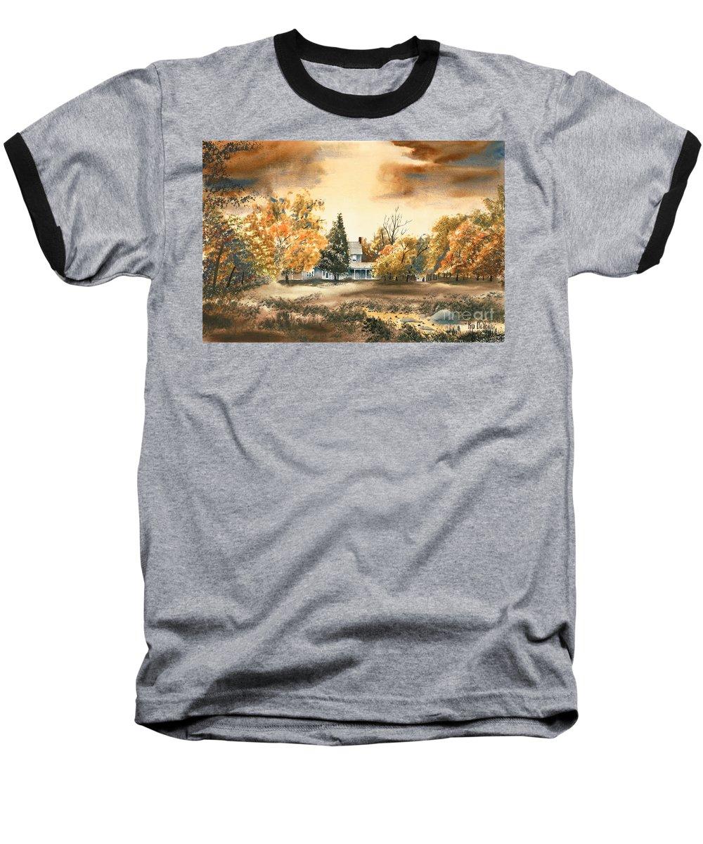 Autumn Sky No W103 Baseball T-Shirt featuring the painting Autumn Sky No W103 by Kip DeVore