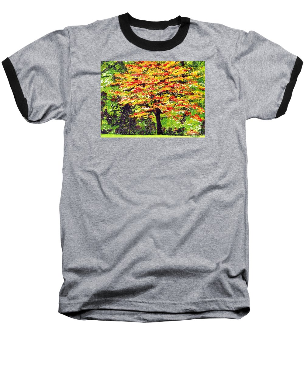 Fine Art Baseball T-Shirt featuring the painting Autumn Splendor by Patricia Griffin Brett