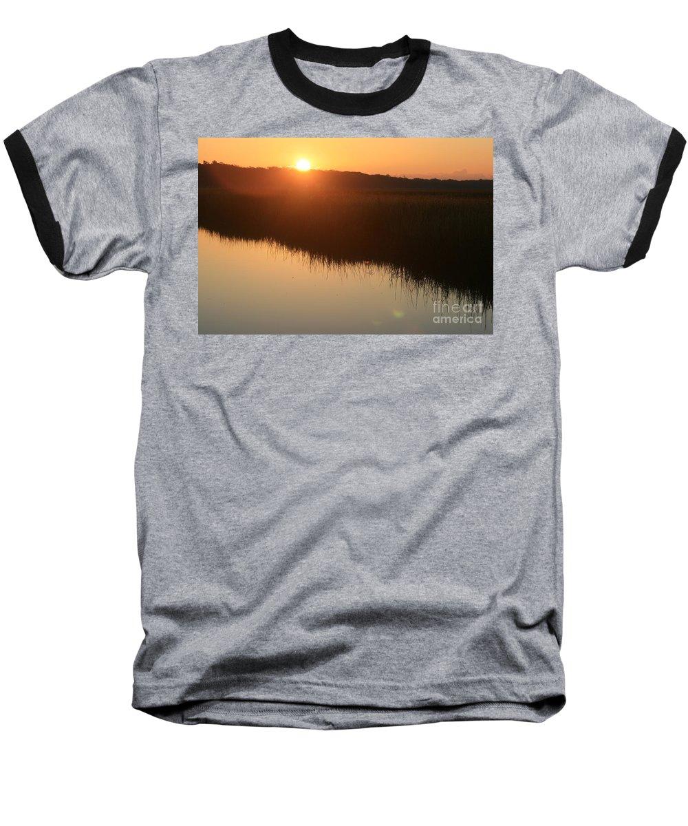 Sunrise Baseball T-Shirt featuring the photograph Autumn Sunrise Over The Marsh by Nadine Rippelmeyer