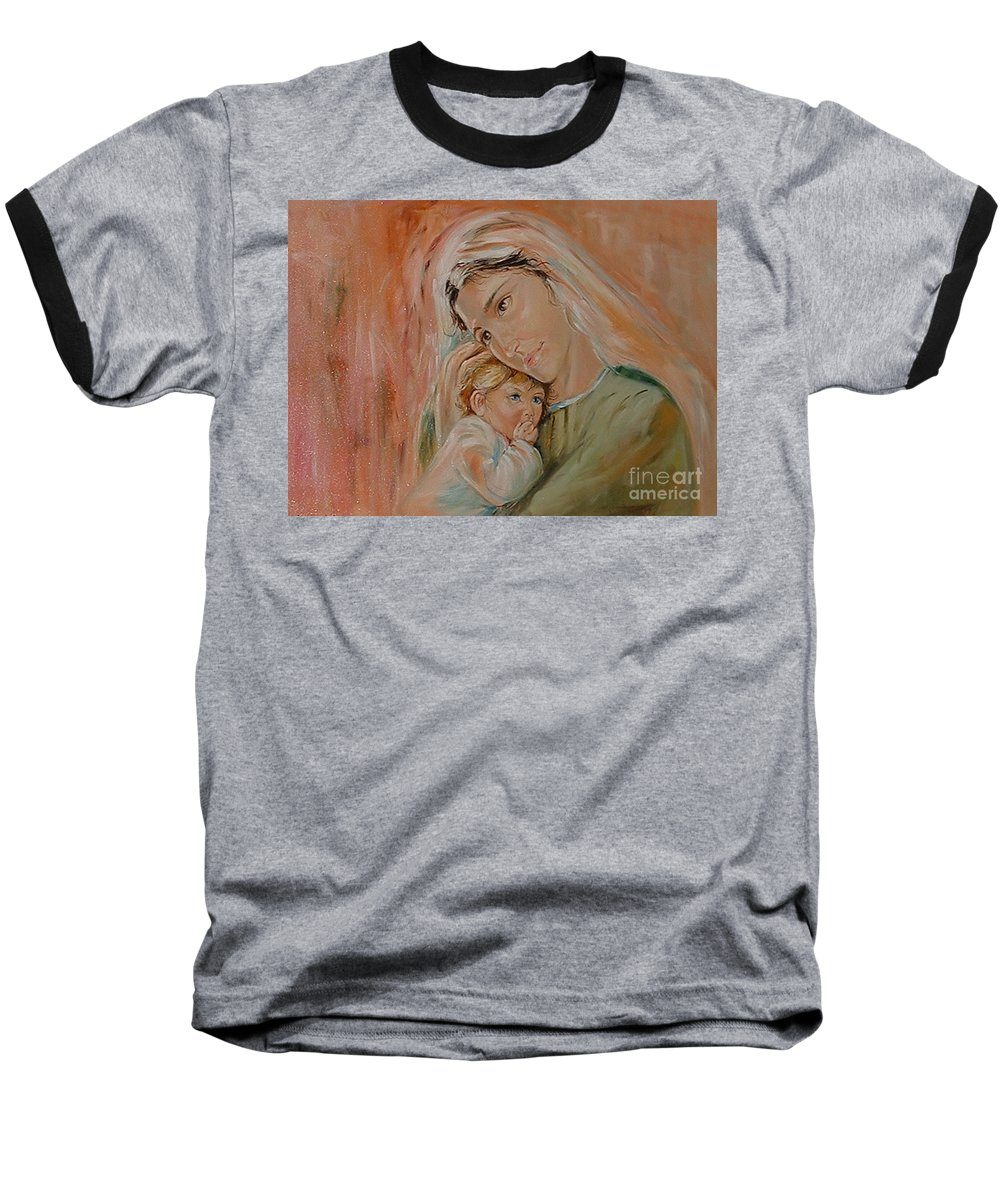 Classic Art Baseball T-Shirt featuring the painting Ave Maria by Silvana Abel