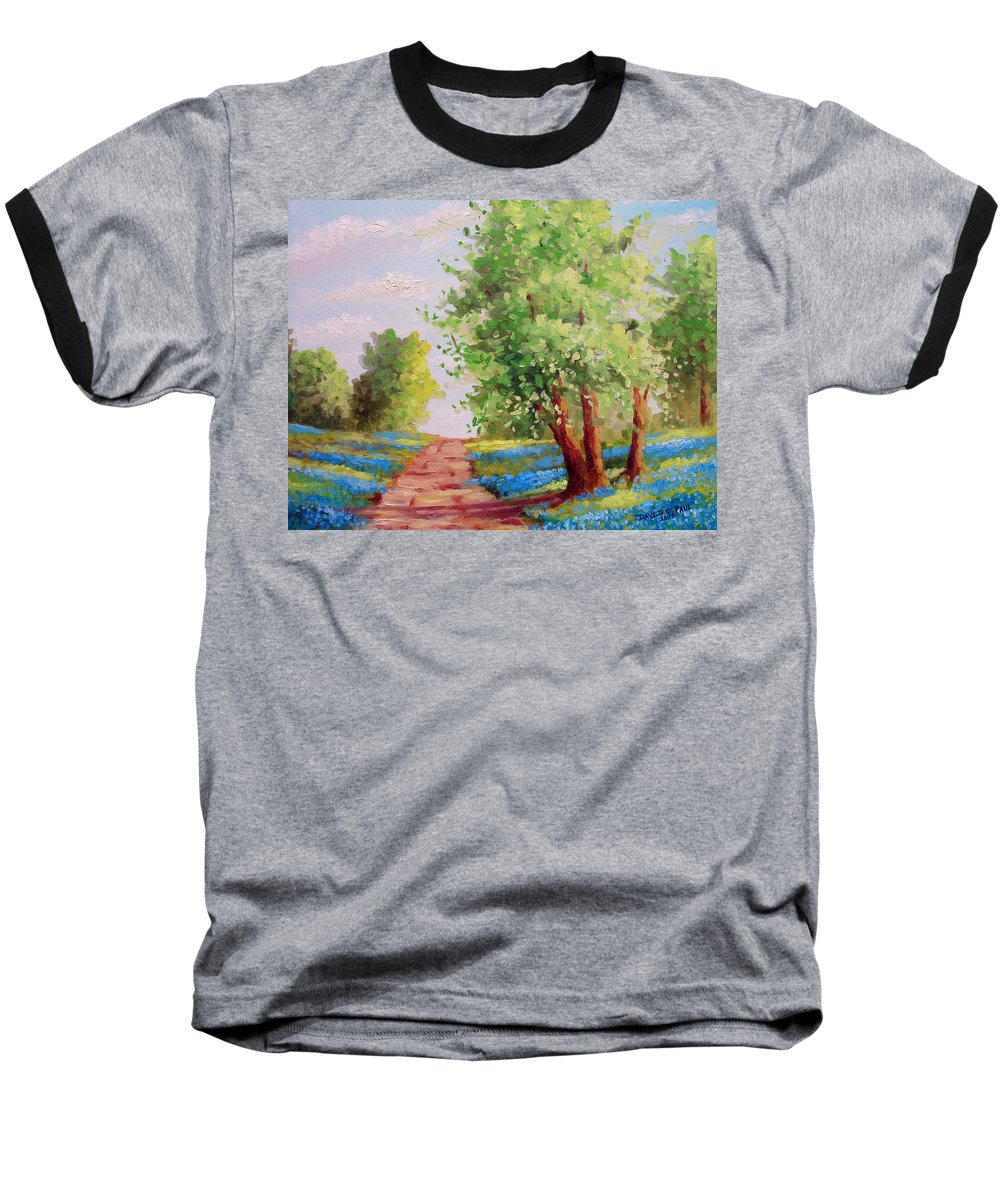Bluebonnets Baseball T-Shirt featuring the painting Backroad Bluebonnets by David G Paul