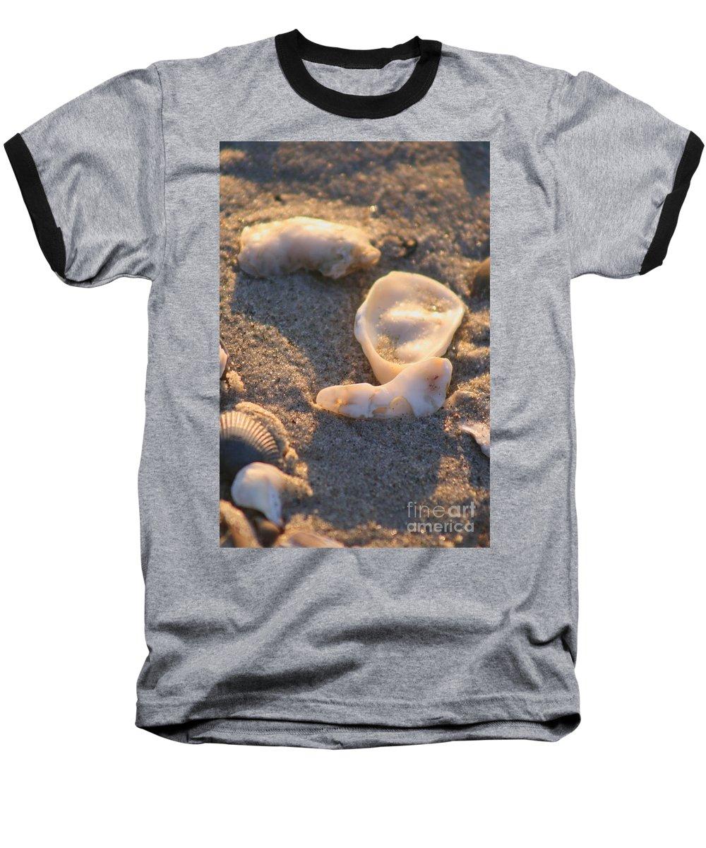 Shells Baseball T-Shirt featuring the photograph Bald Head Island Shells by Nadine Rippelmeyer