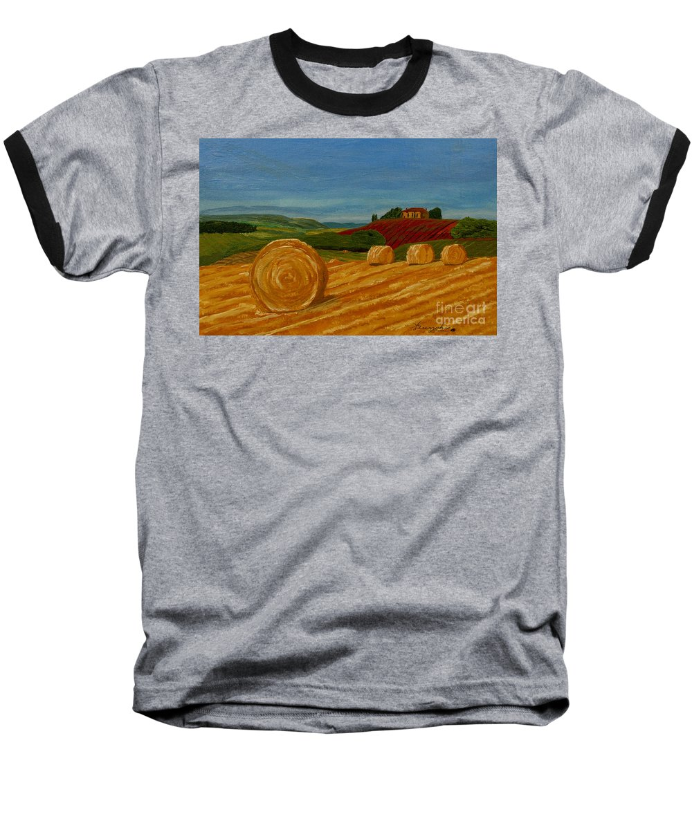 Hay Baseball T-Shirt featuring the painting Field Of Golden Hay by Anthony Dunphy