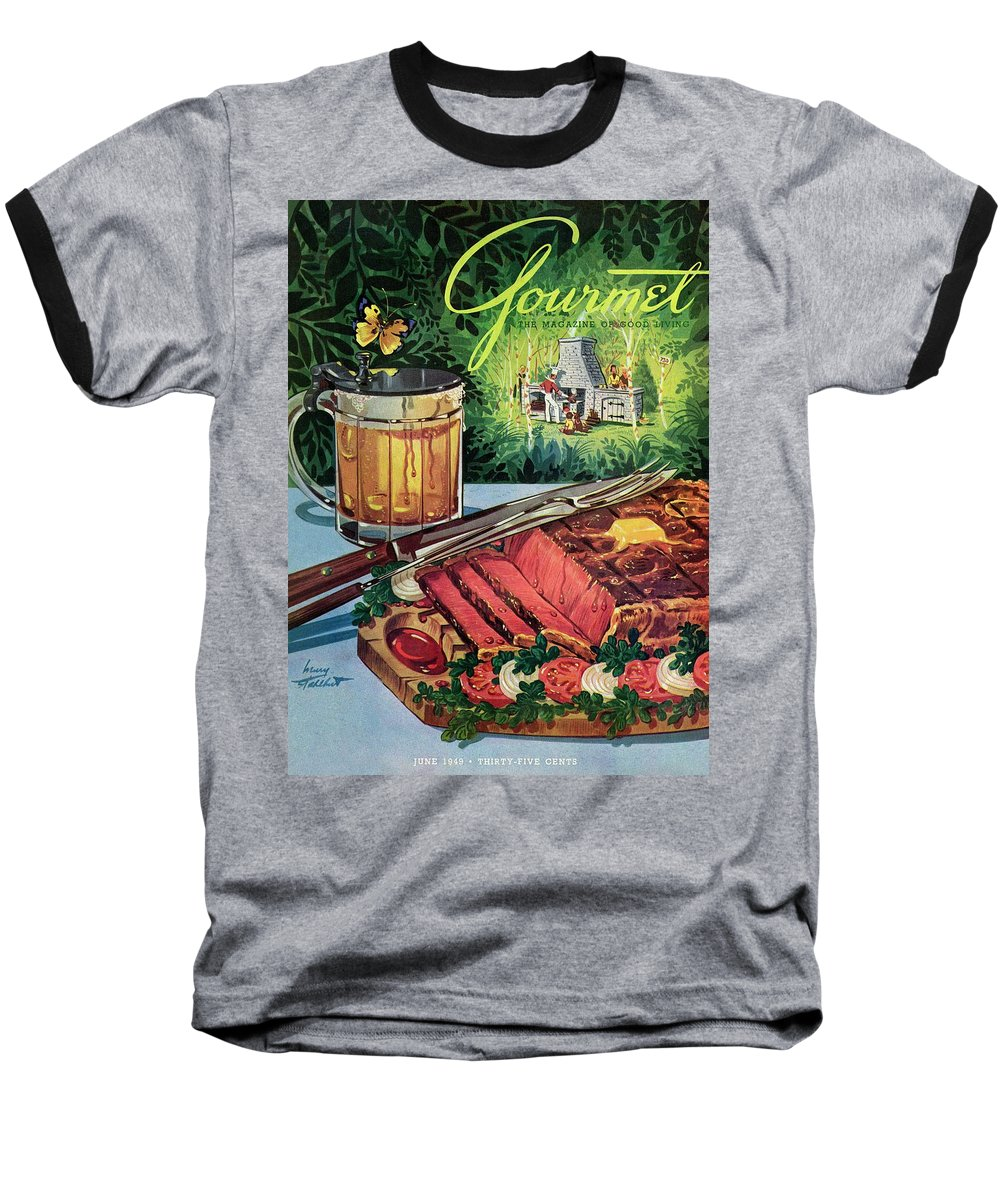 Food Baseball T-Shirt featuring the photograph Barbeque Meat And A Mug Of Beer by Henry Stahlhut