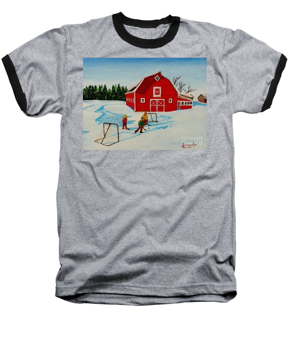 Hockey Baseball T-Shirt featuring the painting Barn Yard Hockey by Anthony Dunphy