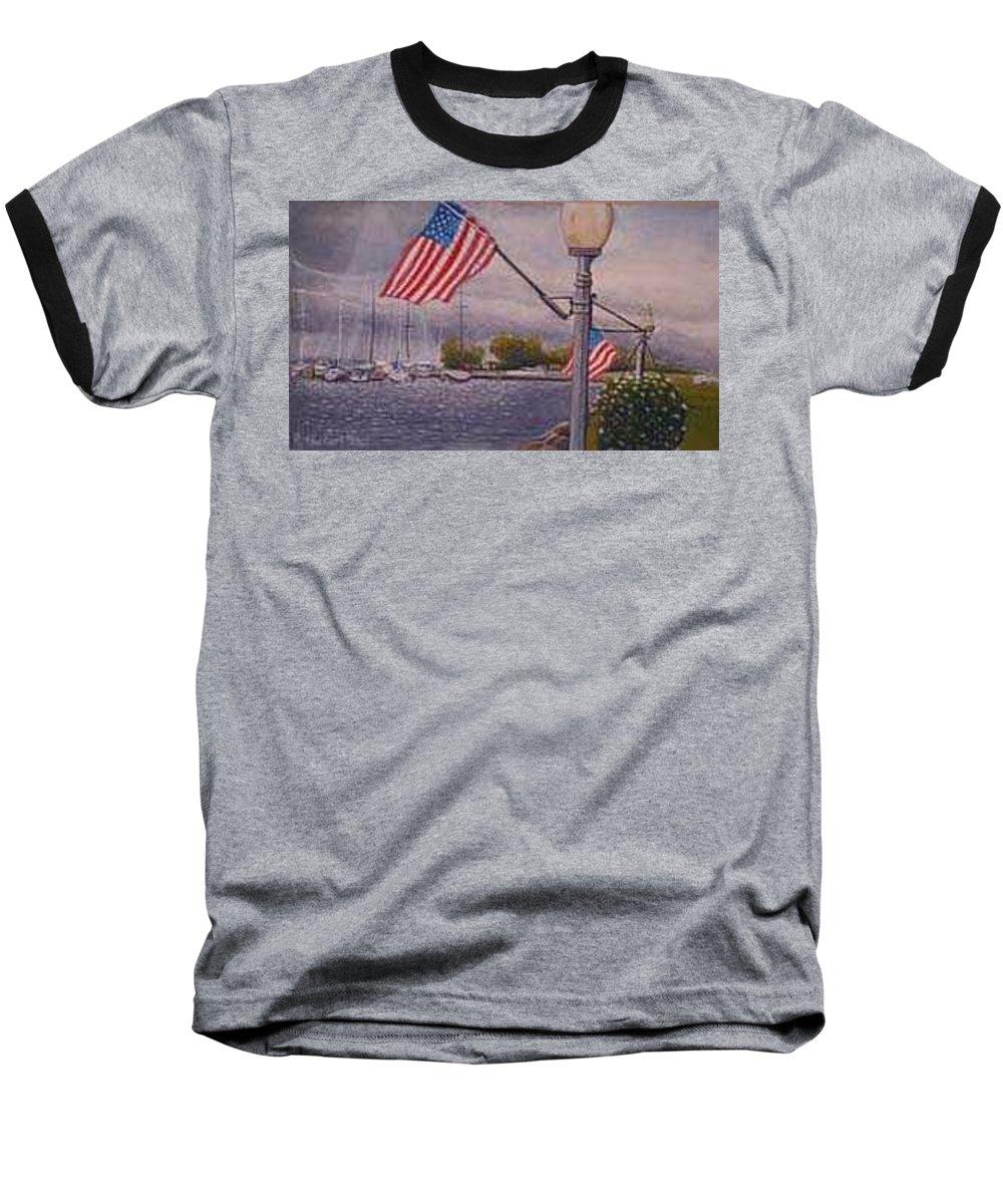 Rick Huotari Baseball T-Shirt featuring the painting Bayfield On The 4th by Rick Huotari
