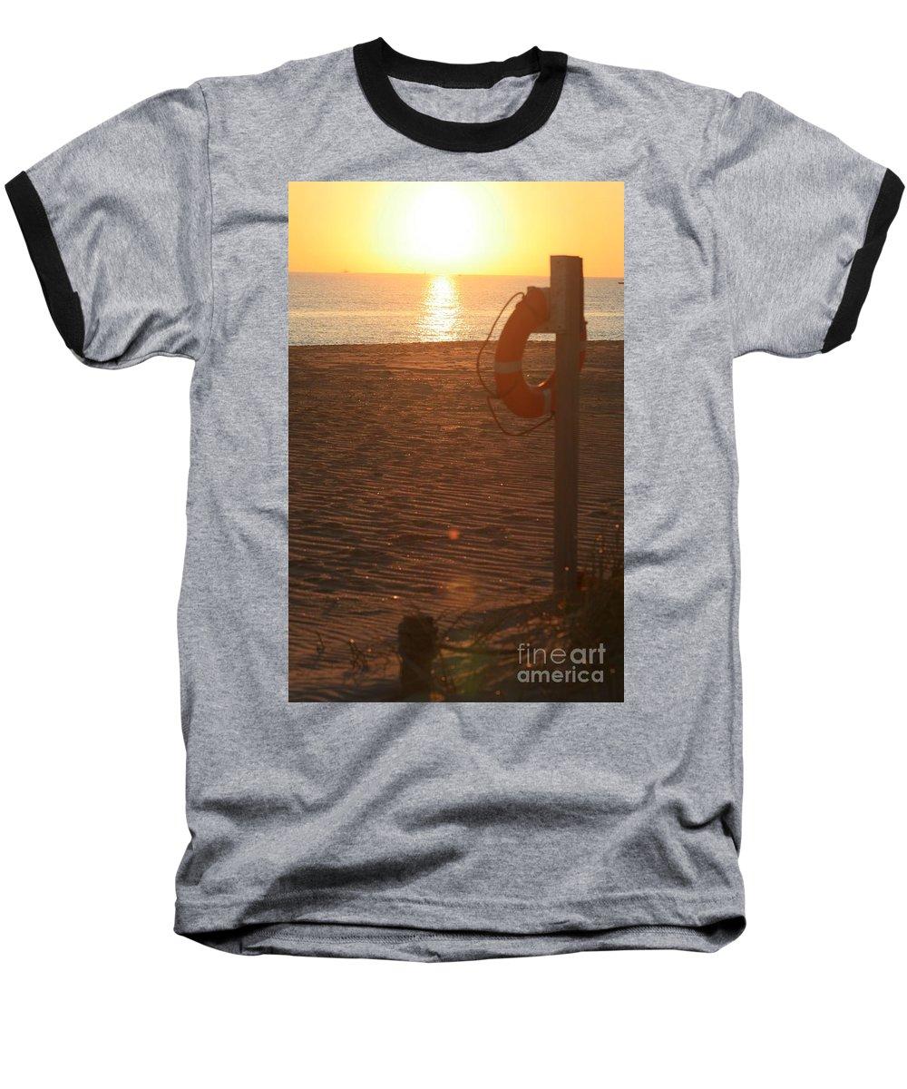 Beach Baseball T-Shirt featuring the photograph Beach At Sunset by Nadine Rippelmeyer