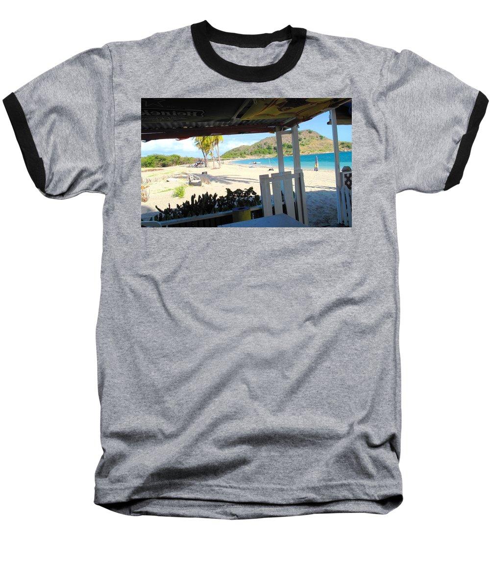 St Kitts Baseball T-Shirt featuring the photograph Beach Bar In January by Ian MacDonald