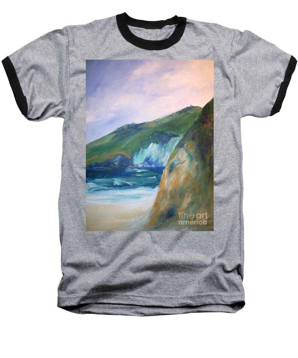 California Coast Baseball T-Shirt featuring the painting Beach California by Eric Schiabor