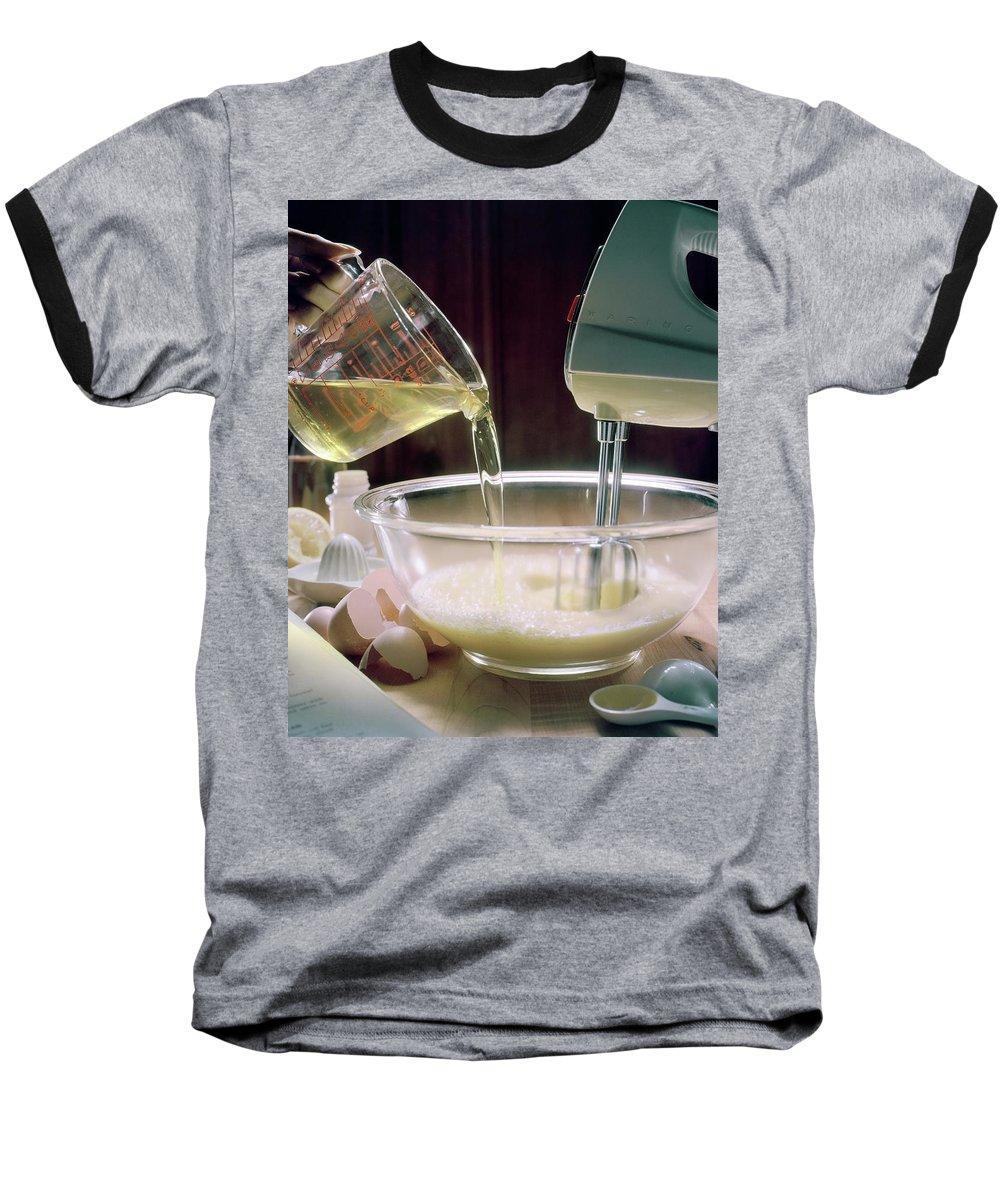 Still Life Baseball T-Shirt featuring the photograph Beating Eggs by Karen Radkai