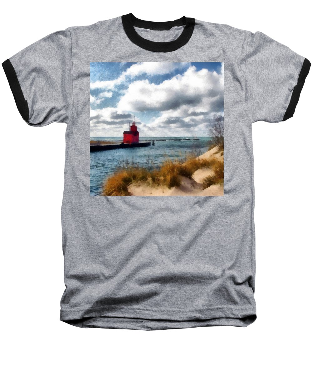 Lighthouse Baseball T-Shirt featuring the photograph Big Red Big Wind by Michelle Calkins