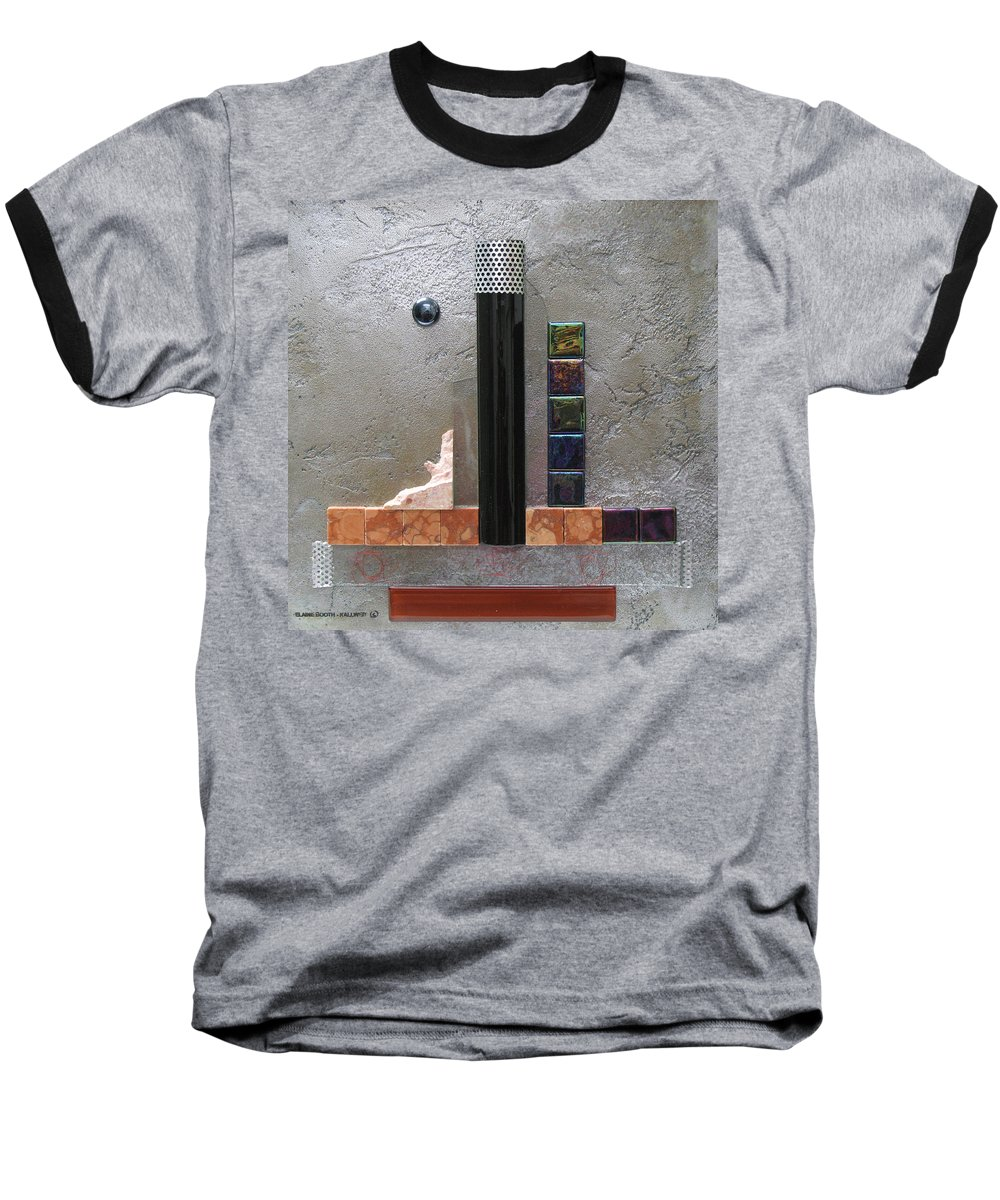 Assemblage Baseball T-Shirt featuring the relief Black Tower by Elaine Booth-Kallweit