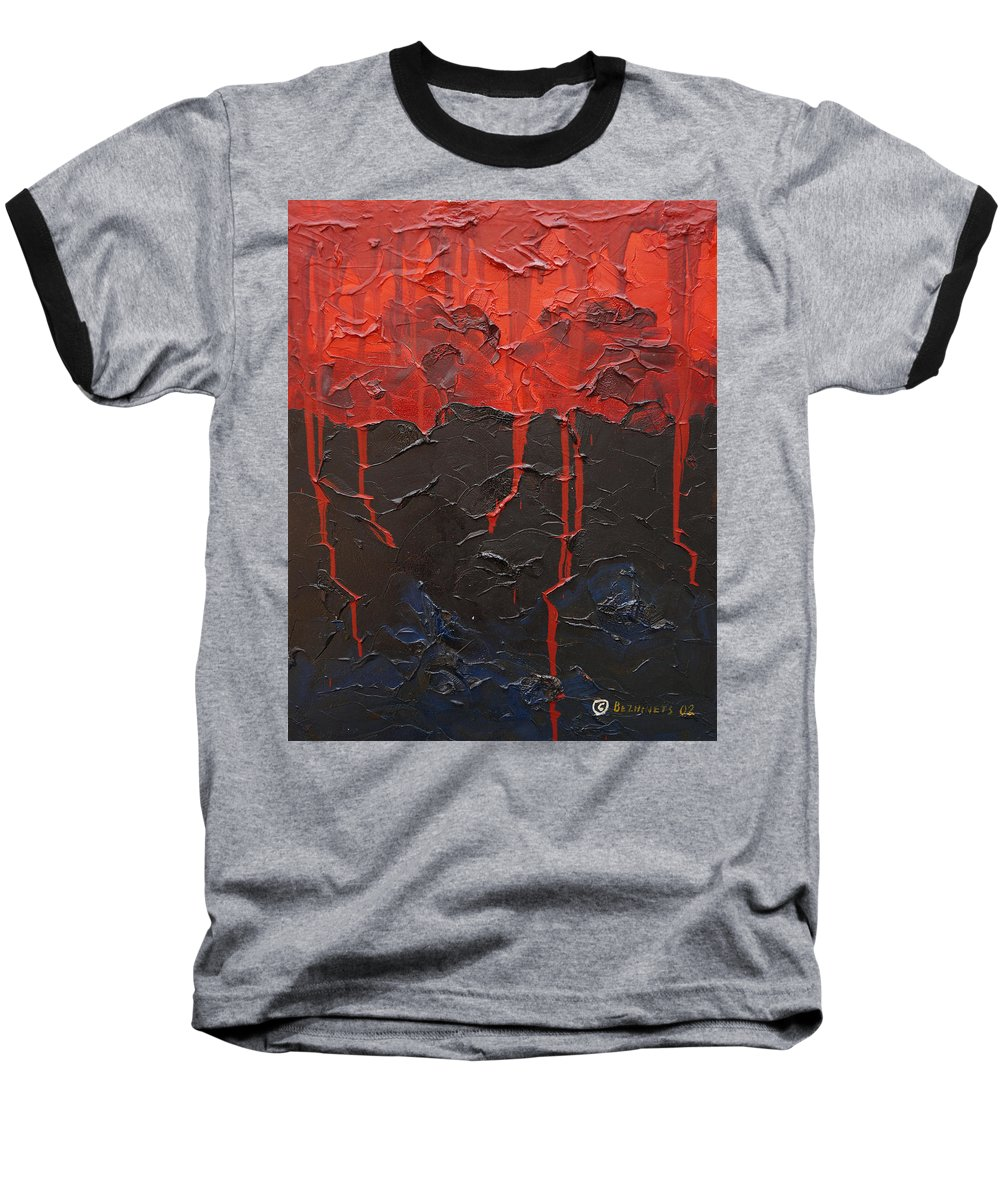 Fantasy Baseball T-Shirt featuring the painting Bleeding Sky by Sergey Bezhinets