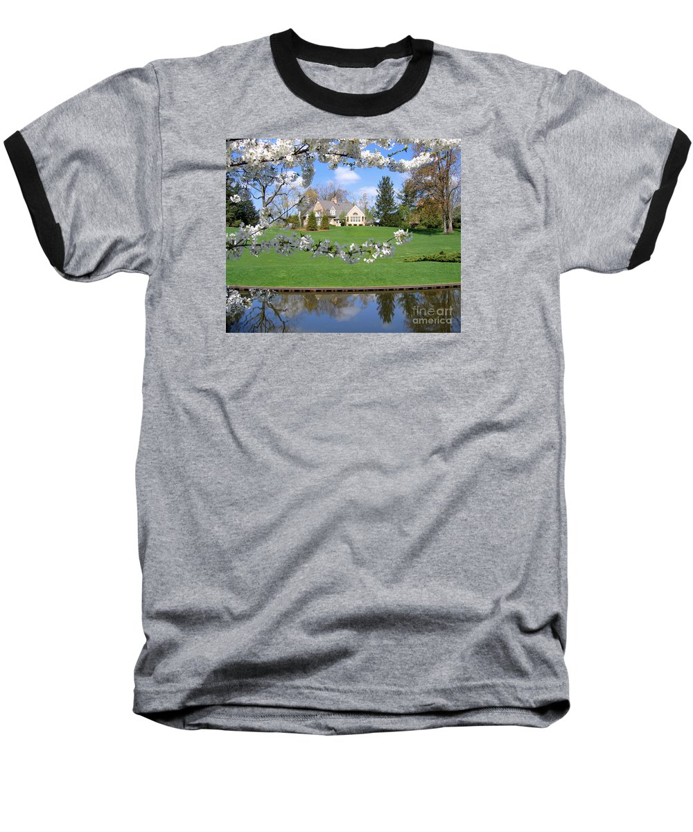 Spring Baseball T-Shirt featuring the photograph Blossom-framed House by Ann Horn