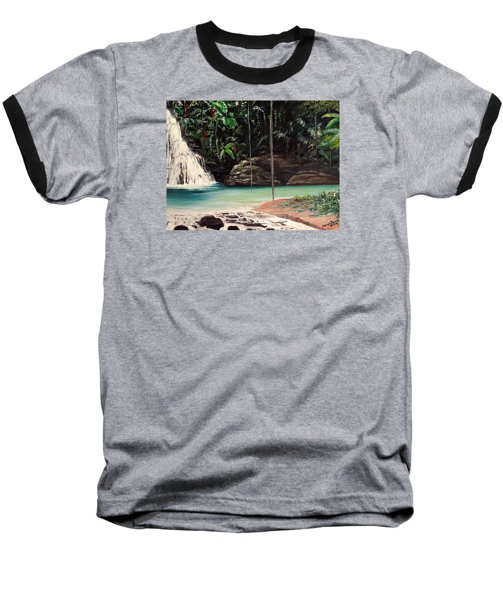 Tropical Waterfall Baseball T-Shirt featuring the painting Blue Basin by Karin Dawn Kelshall- Best