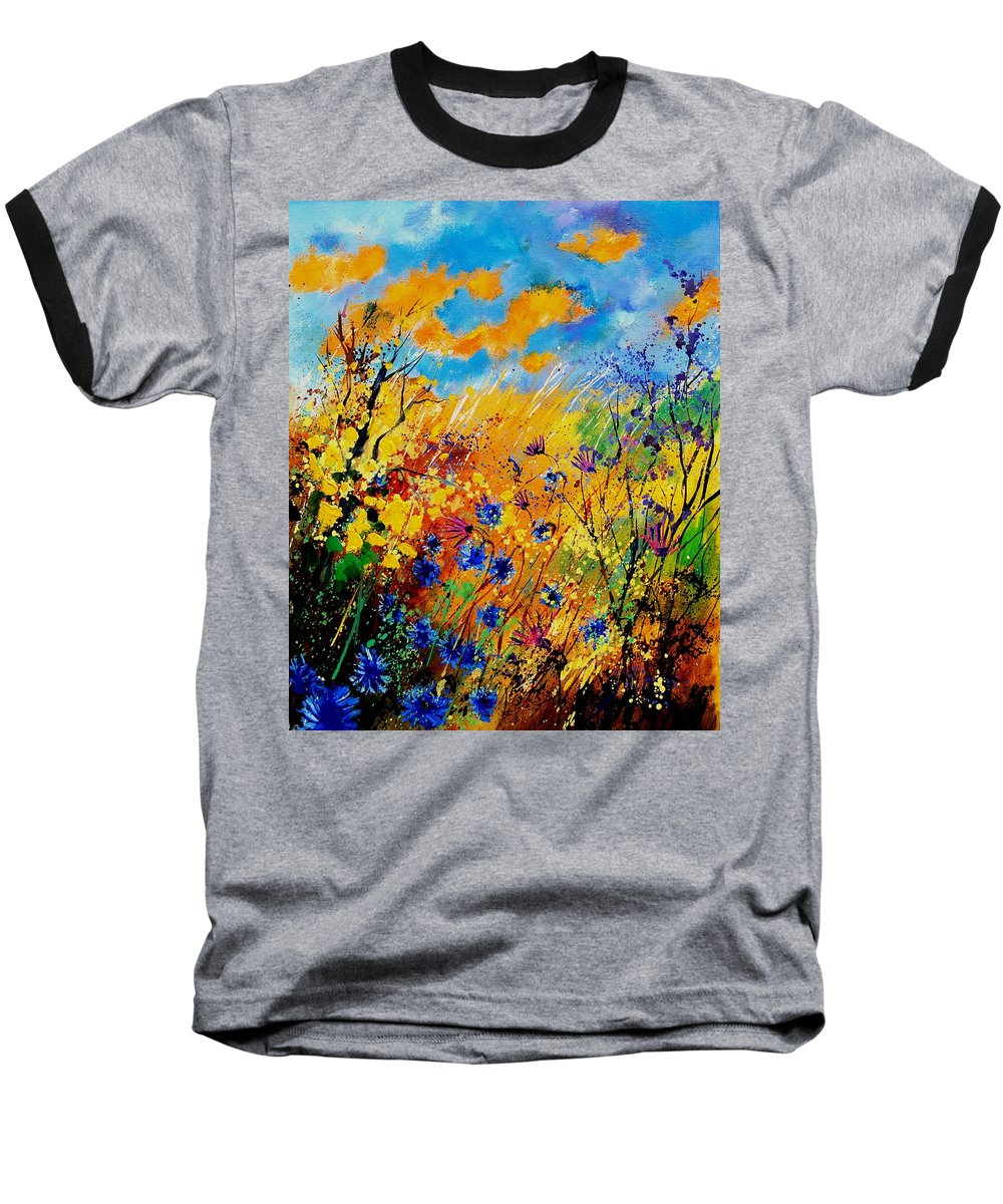 Poppies Baseball T-Shirt featuring the painting Blue Cornflowers 450408 by Pol Ledent