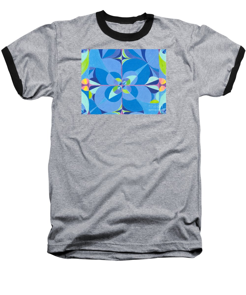 Color Baseball T-Shirt featuring the drawing Blue Unity by Kim Sy Ok