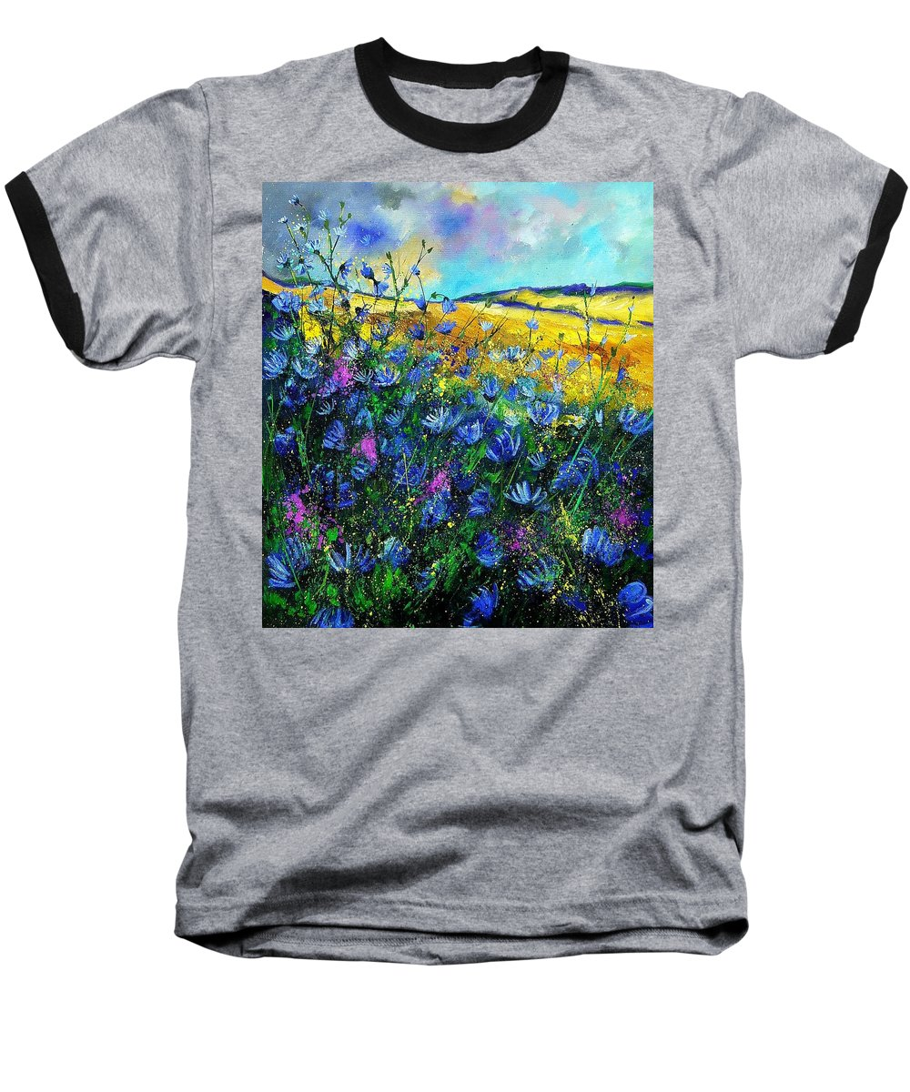 Flowers Baseball T-Shirt featuring the painting Blue Wild Chicorees by Pol Ledent