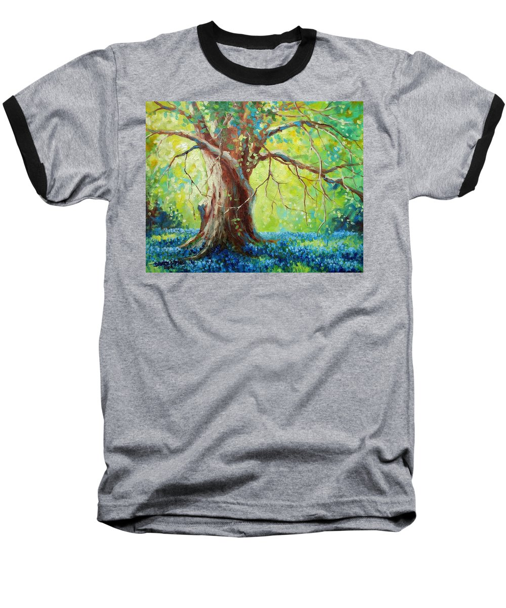 Bluebonnets Baseball T-Shirt featuring the painting Bluebonnets Under The Oak by David G Paul