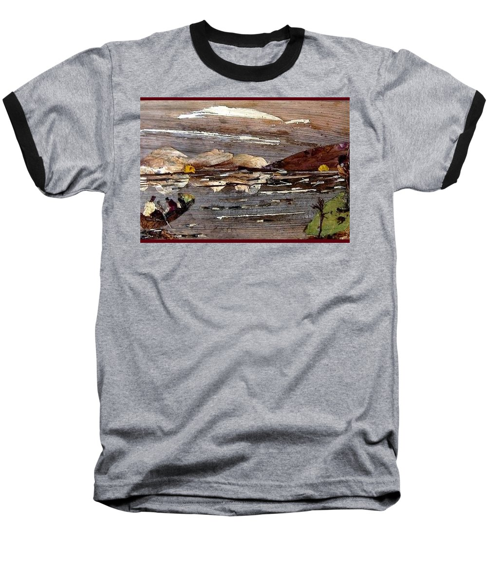 Boating Scene Baseball T-Shirt featuring the mixed media Boating In River by Basant Soni