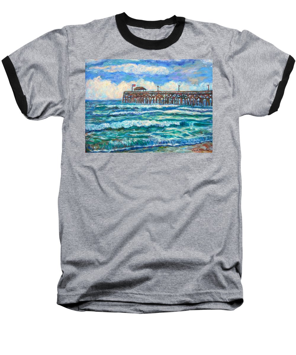 Shore Scenes Baseball T-Shirt featuring the painting Breakers At Pawleys Island by Kendall Kessler