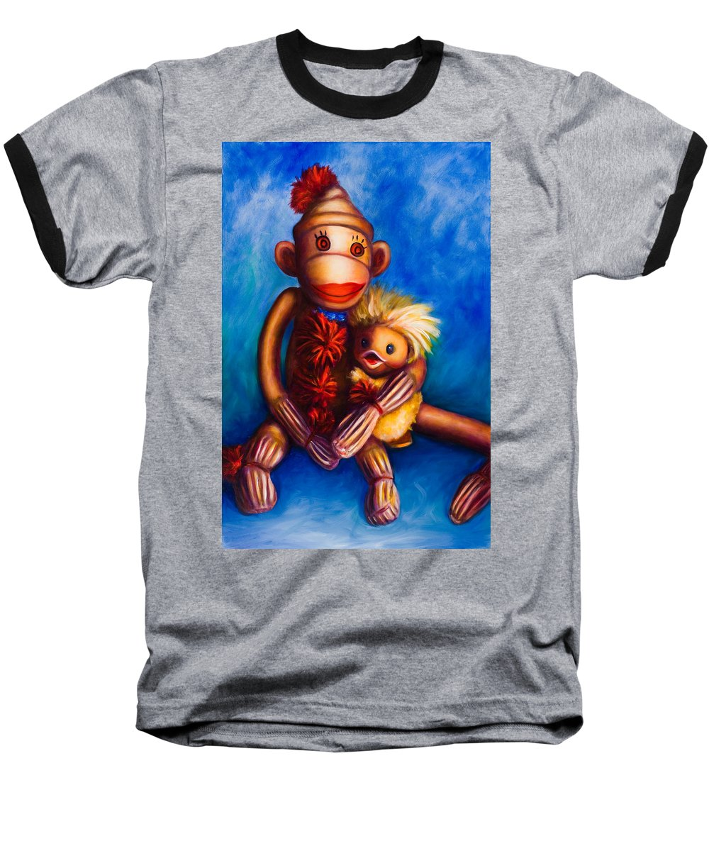 Sock Monkeys Brown Baseball T-Shirt featuring the painting Buddies by Shannon Grissom