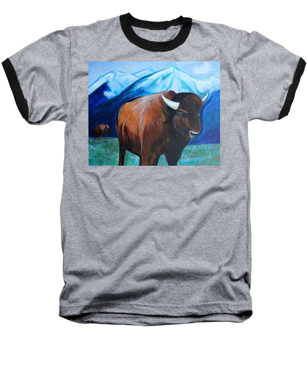 Buffalo Baseball T-Shirt featuring the painting Buffalo by Kate Fortin