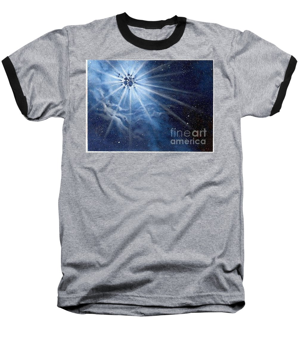 Outerspace Baseball T-Shirt featuring the painting Burst Of Light by Murphy Elliott