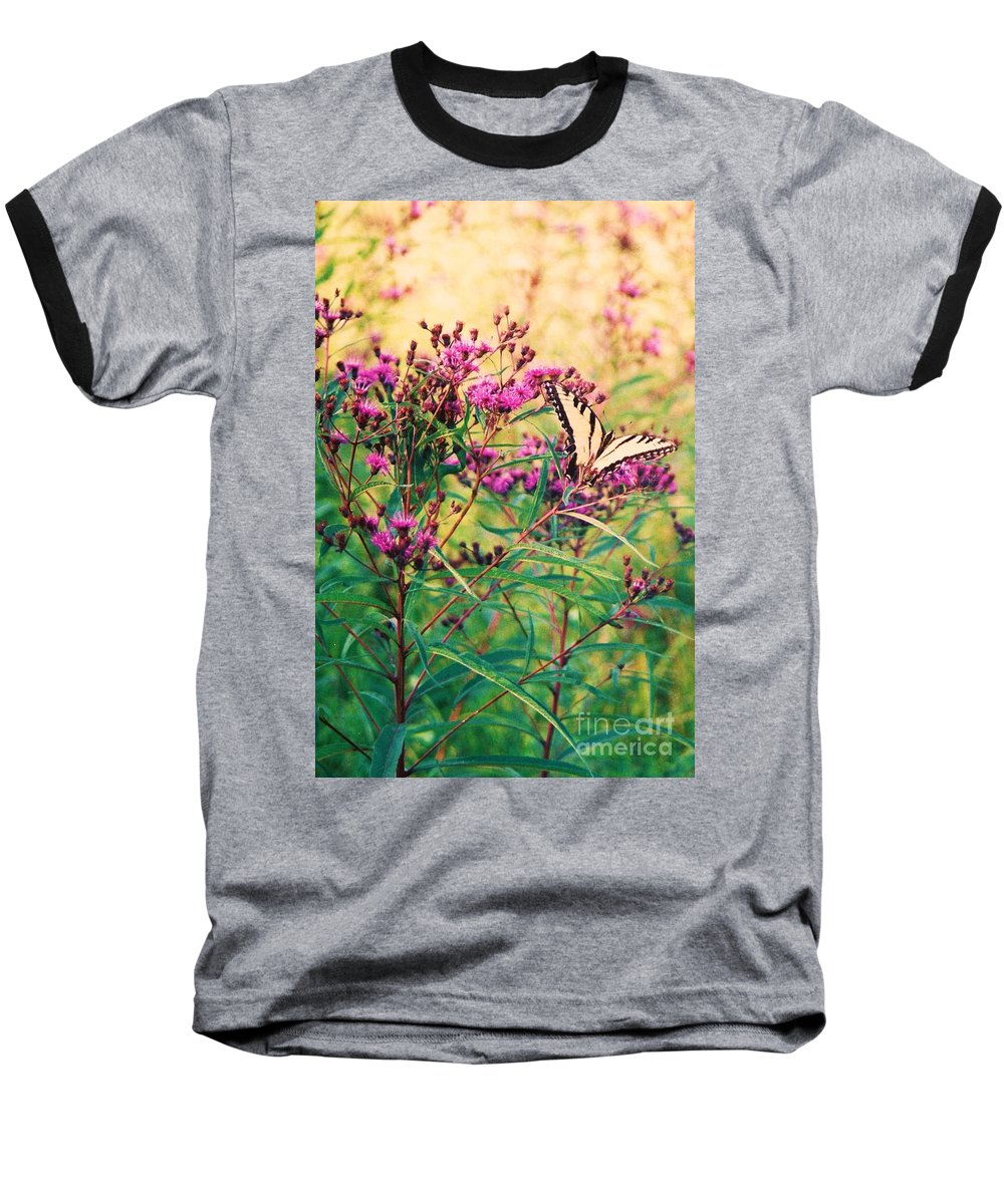 Floral Baseball T-Shirt featuring the painting Butterfly Wildflower by Eric Schiabor
