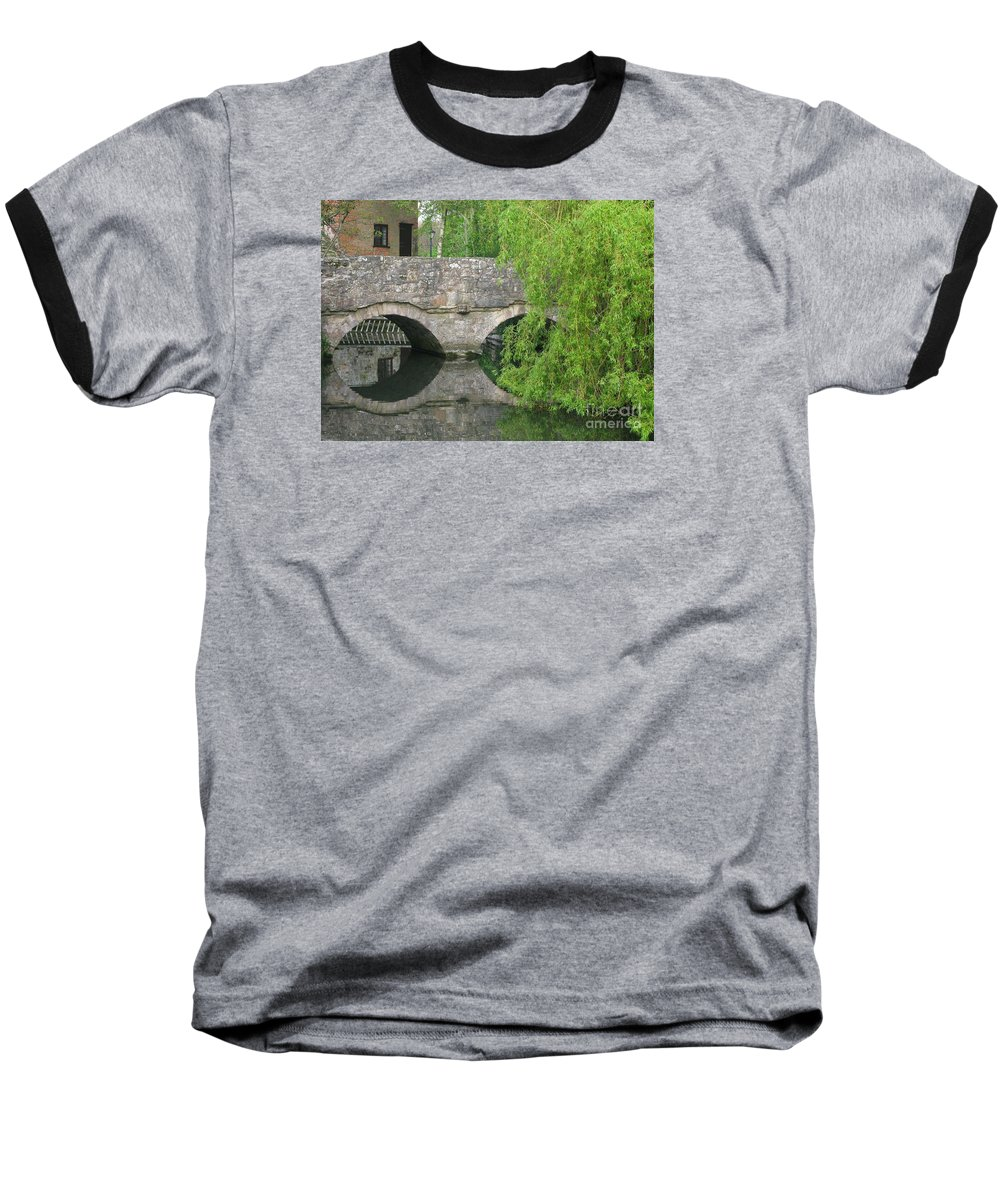 England Baseball T-Shirt featuring the photograph By The Old Mill Stream by Ann Horn