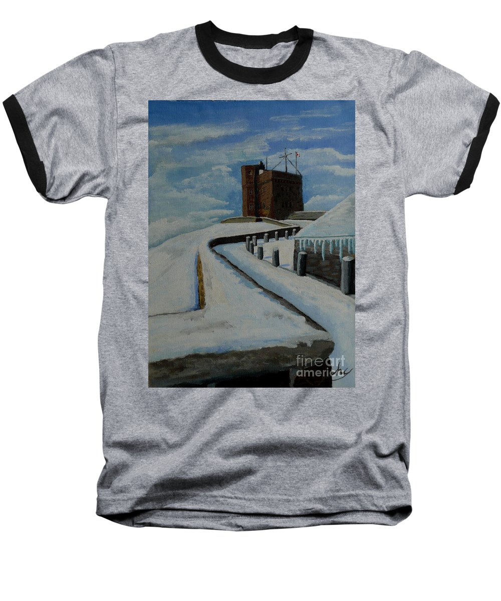Landscape Baseball T-Shirt featuring the painting Cabot Tower Newfoundland by Anthony Dunphy