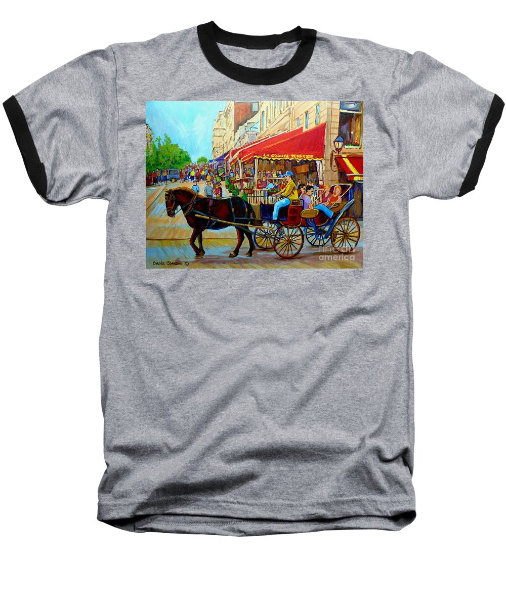 Cafe La Grande Terrasse Baseball T-Shirt featuring the painting Cafe La Grande Terrasse by Carole Spandau