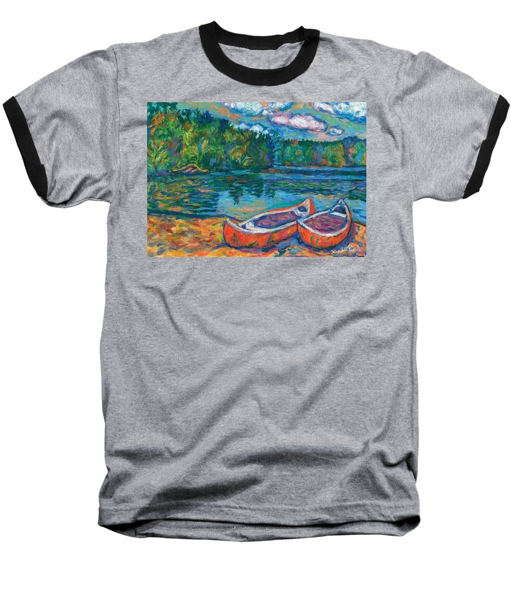 Landscape Baseball T-Shirt featuring the painting Canoes At Mountain Lake Sketch by Kendall Kessler
