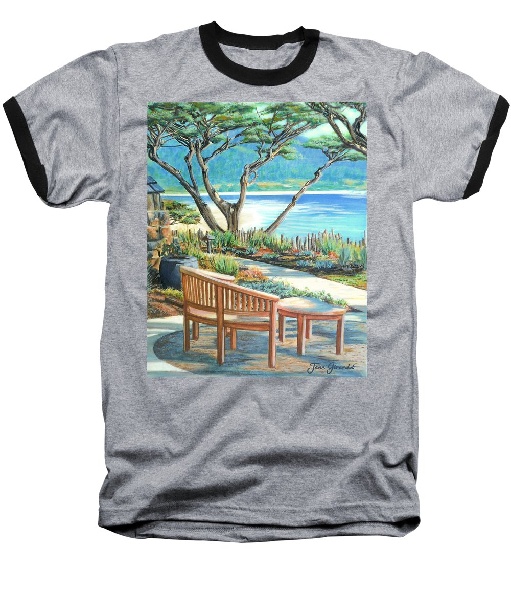 Carmel Baseball T-Shirt featuring the painting Carmel Lagoon View by Jane Girardot