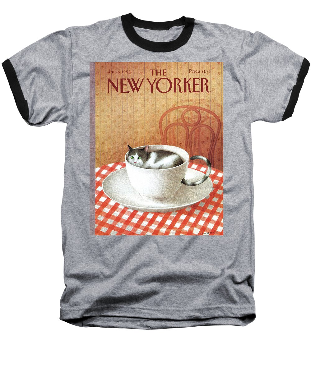 Cat Baseball T-Shirt featuring the painting Cat Sits Inside A Coffee Cup by Gurbuz Dogan Eksioglu