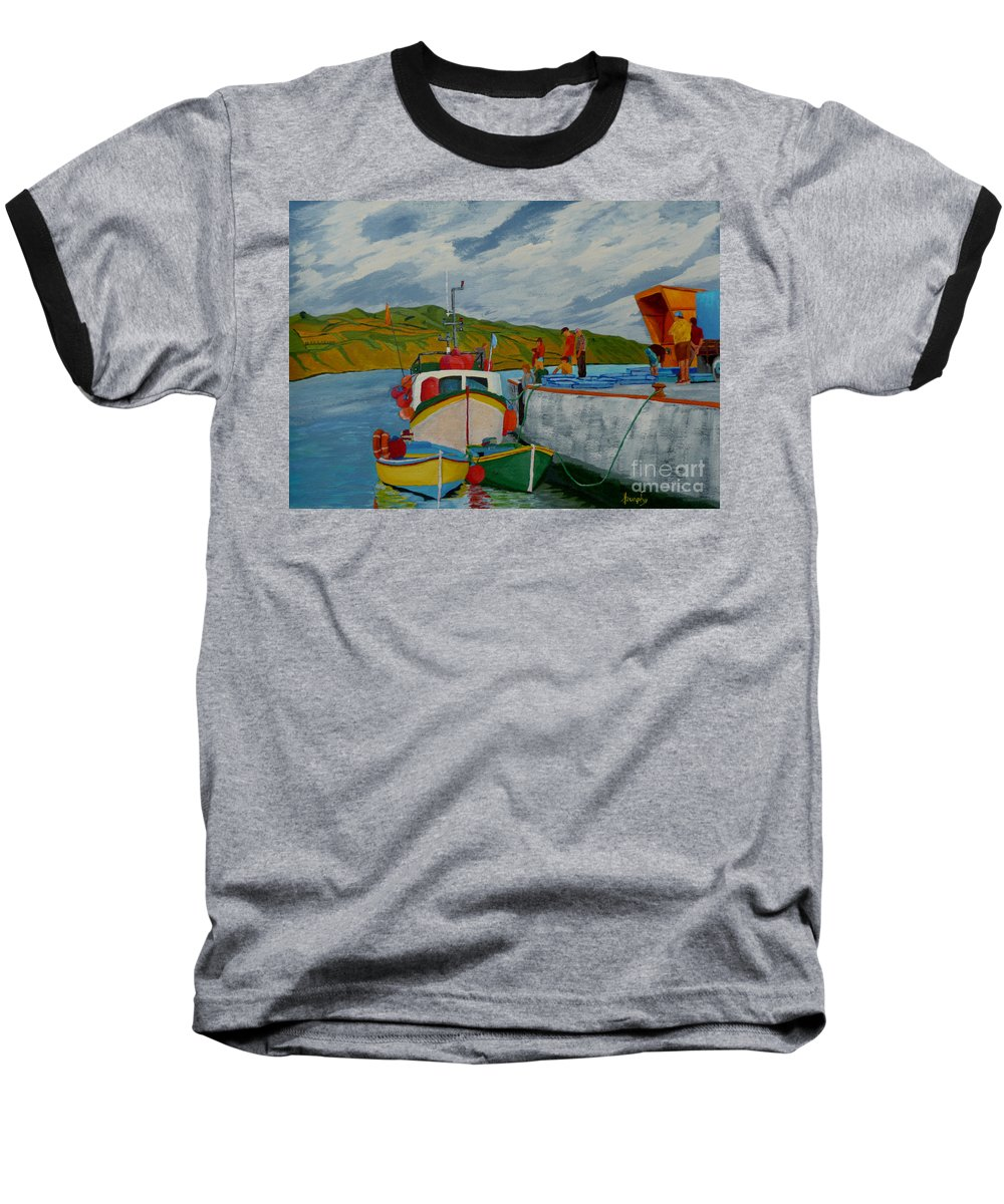 Boats Baseball T-Shirt featuring the painting Catch Of The Day by Anthony Dunphy