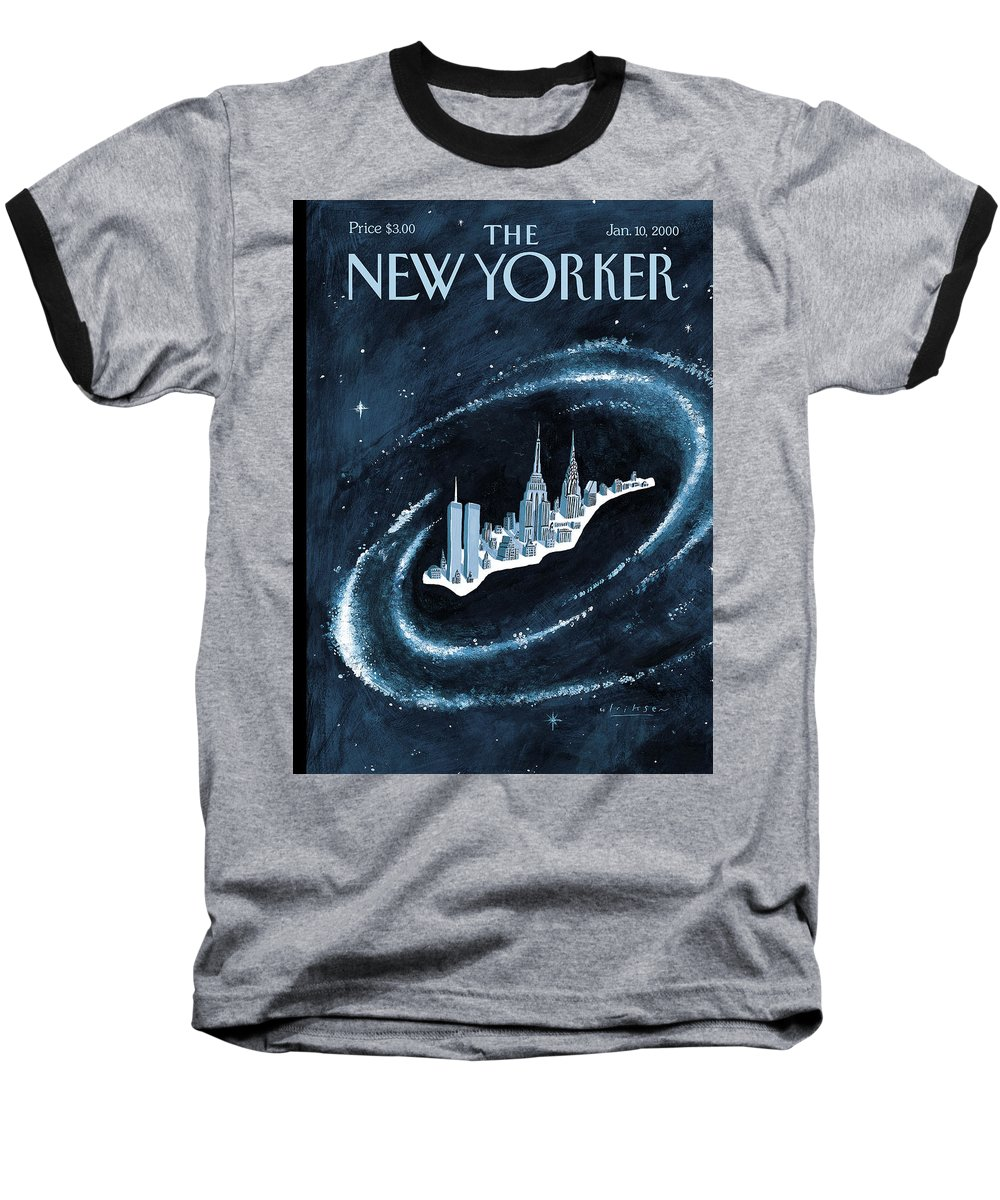 Center Of The Universe New York Manhattan Empire State Building Twin Towers Twintowers World Trade Center Wtc Chrysler Building Space Universe Milky Way Stars Outer Galaxy Cosmos Cosmic  Mark Ulriksen Mul Mul Artkey 51151 Baseball T-Shirt featuring the painting Center Of The Universe by Mark Ulriksen