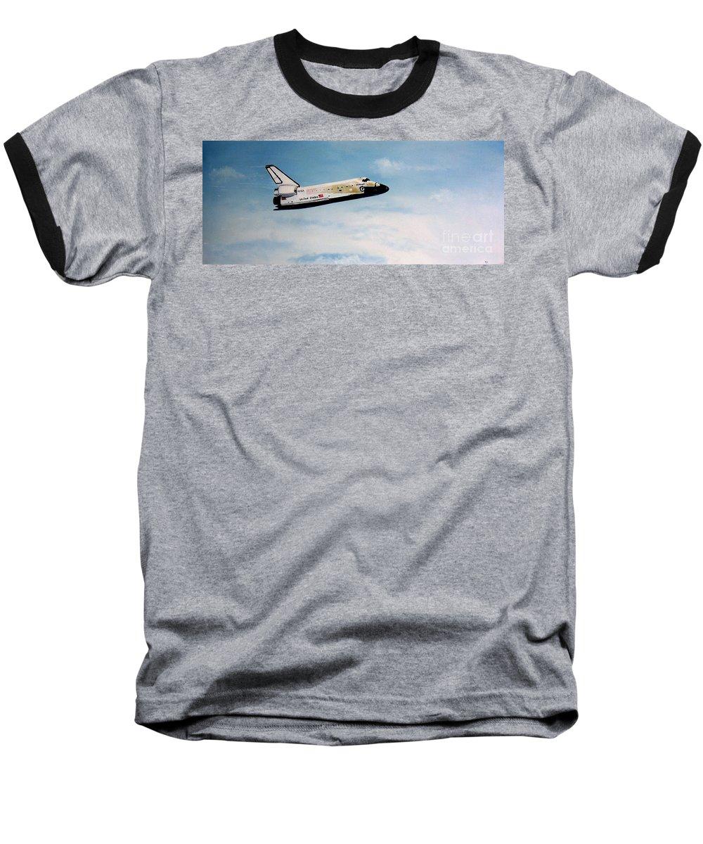 Shuttle Baseball T-Shirt featuring the painting Challenger by Murphy Elliott