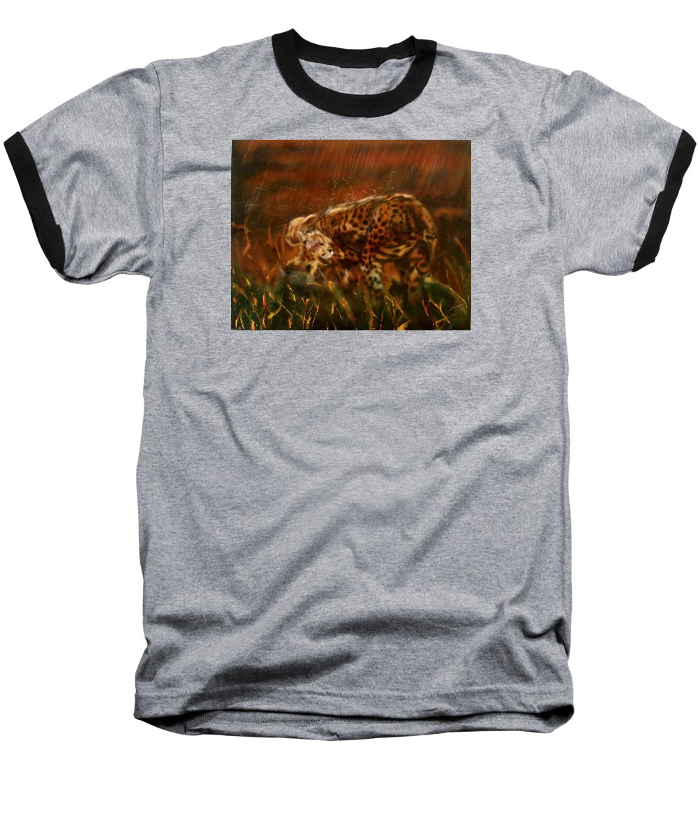 Rain;water;cats;africa;wildlife;animals;mother;shelter;brush;bush Baseball T-Shirt featuring the painting Cheetah Family After The Rains by Sean Connolly