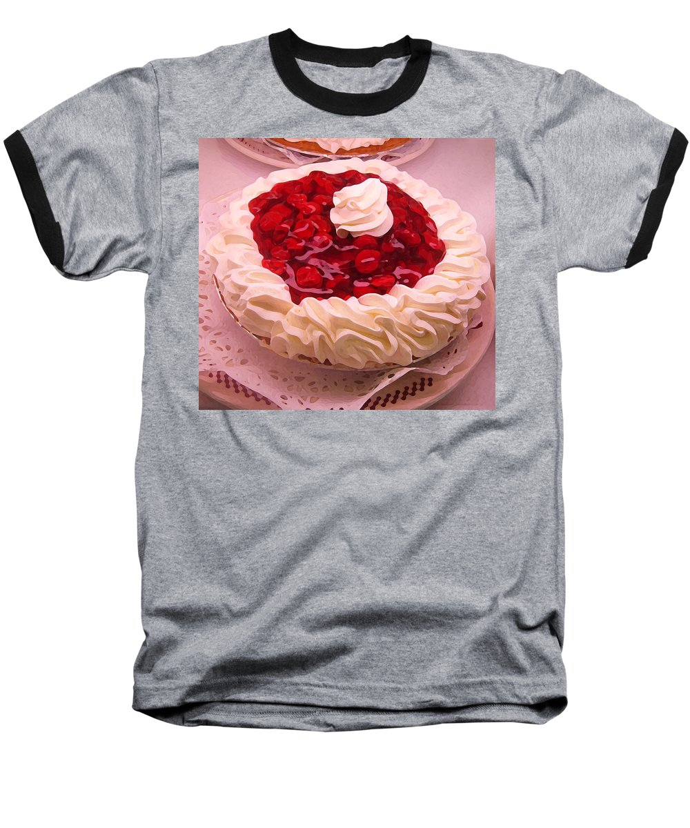 Still Life Baseball T-Shirt featuring the painting Cherry Pie With Whip Cream by Amy Vangsgard