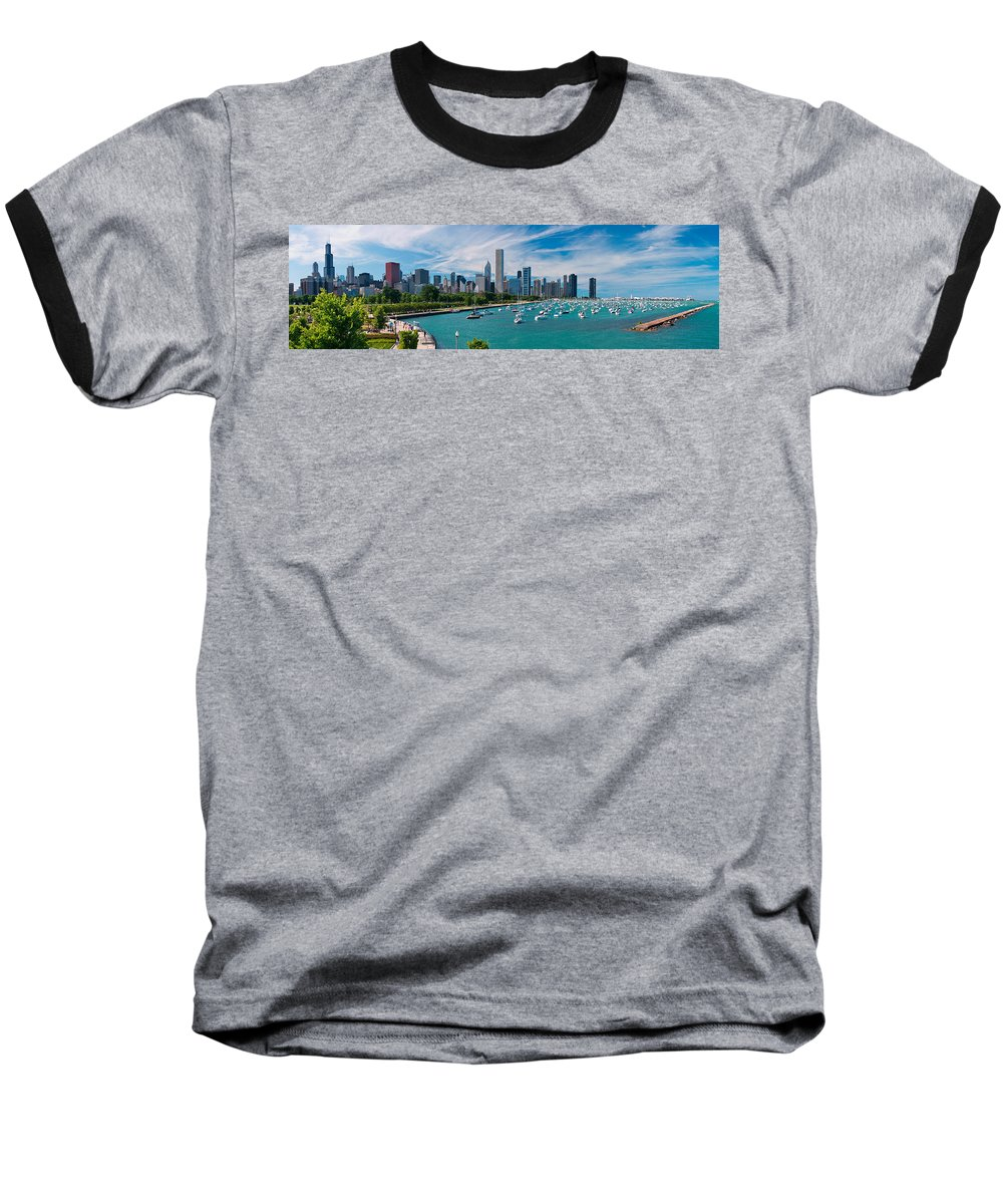 3scape Baseball T-Shirt featuring the photograph Chicago Skyline Daytime Panoramic by Adam Romanowicz