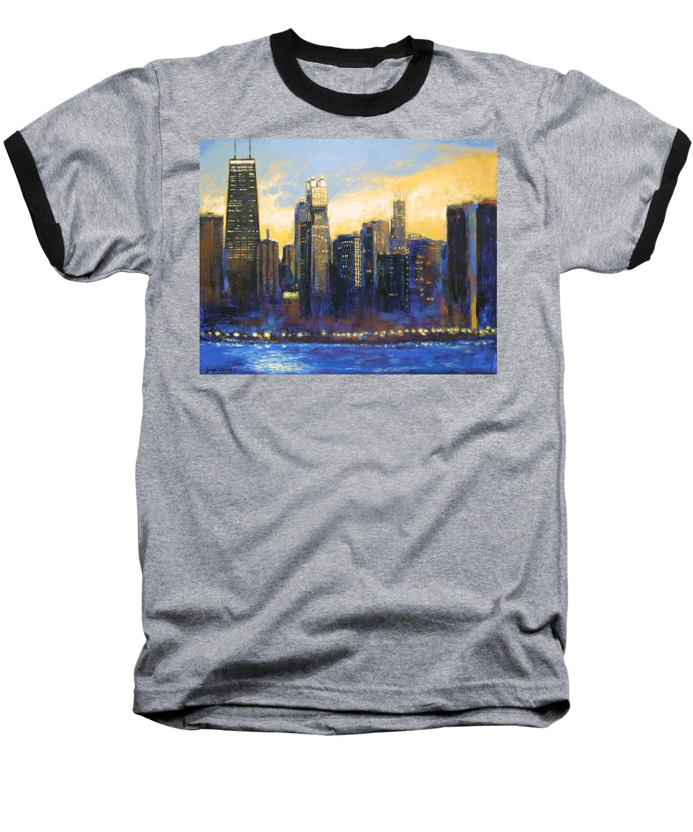 Chicago Skyline Baseball T-Shirt featuring the painting Chicago Sunset Looking South by Joseph Catanzaro