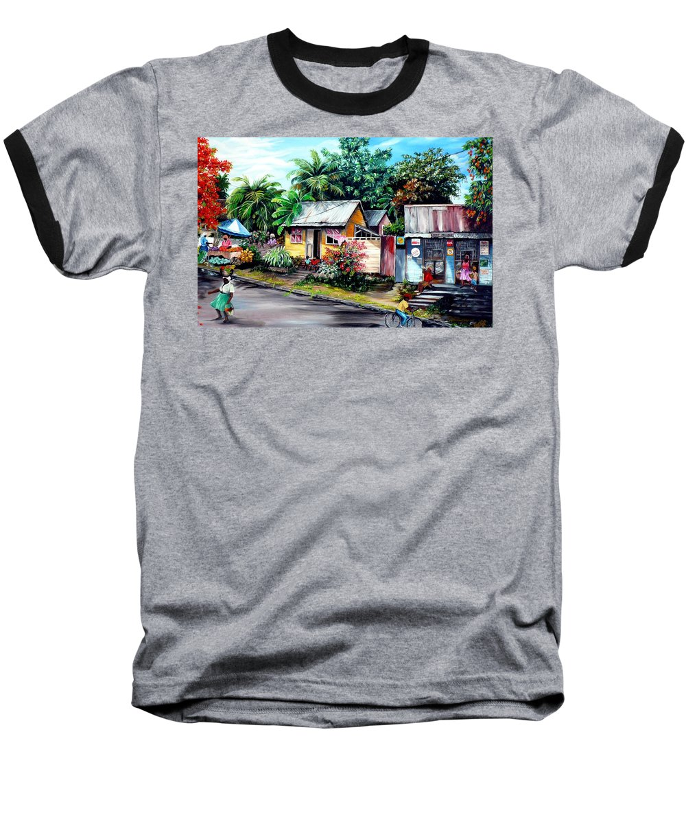 Landscape Painting Caribbean Painting Shop Trinidad Tobago Poinciana Painting Market Caribbean Market Painting Tropical Painting Baseball T-Shirt featuring the painting Chins Parlour   by Karin Dawn Kelshall- Best